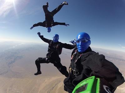 Blue Man Group skydiving
