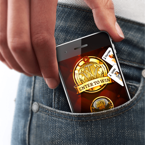 Placing mobile phone with gambling app active into pants pocket