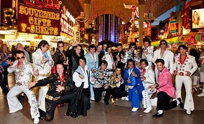 Elvis impersonators Fremont Street Experience Downtown Las Vegas